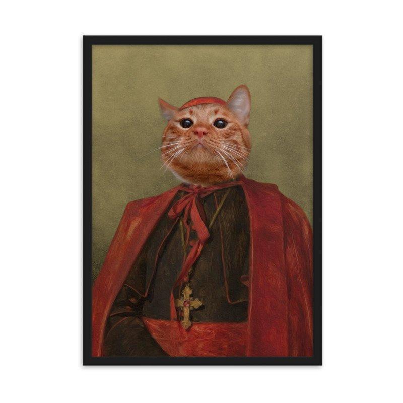 The Cardinal - Cute Cat Portrait - Cute Pet Portrait - Custom Pet Portrait