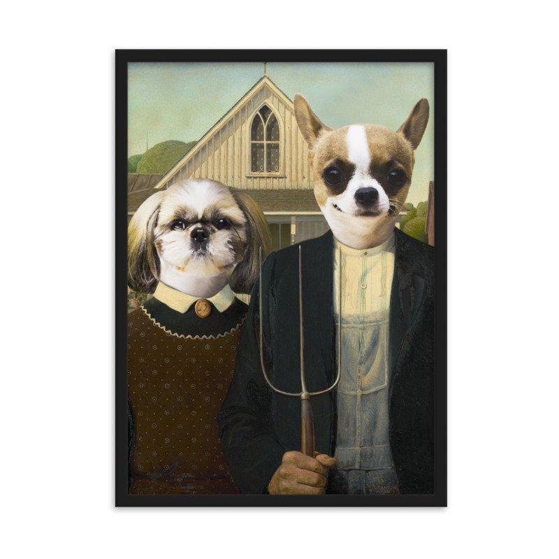 The Cute Couple - American Gothic Pet Portrait - Cute Pet Portrait - Custom Pet Portrait