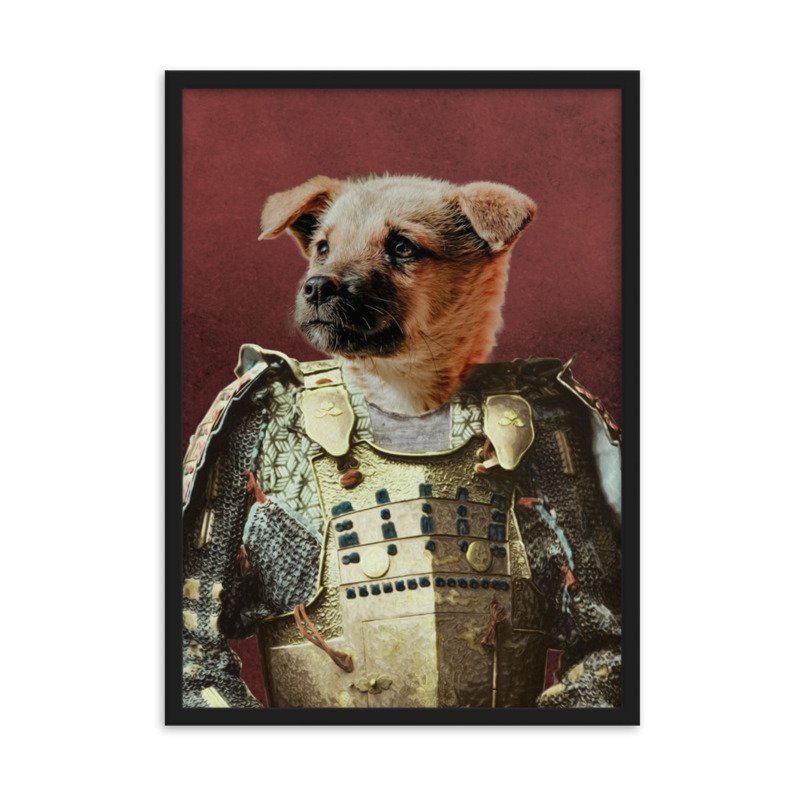 The Samurai - Cute Pet Portrait - Dog Portrait - Custom Pet Portrait