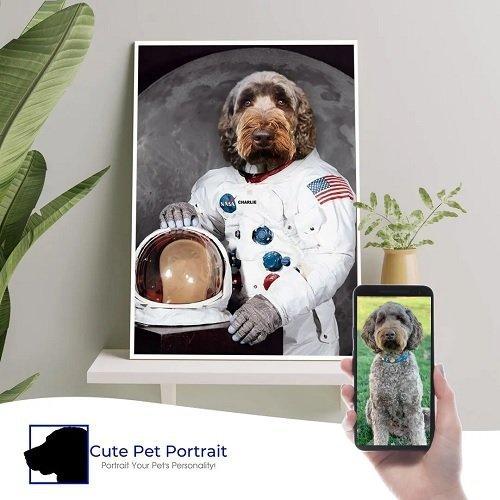 Charlie as The Astronaut - Cute Pet Portrait - Custom Pet Portrait