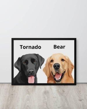 2 Pets Cartoon Portrait (Pearl White)